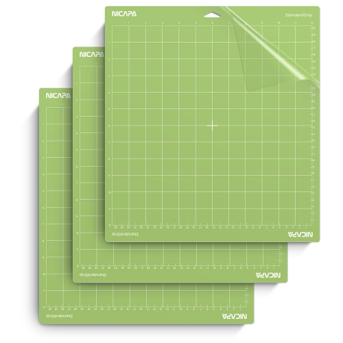 Nicapa Cutting Mat for Cricut Explore One/Air/Air 2/Maker [Standardgrip,12x12 inch,3pack]