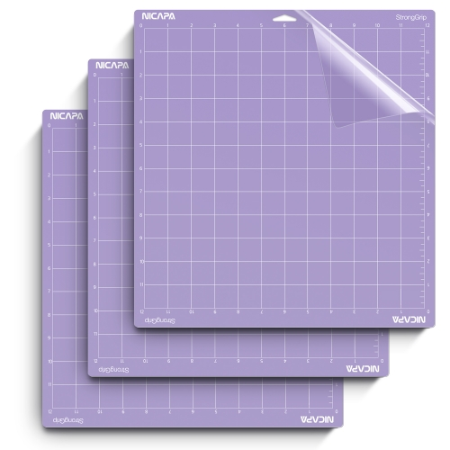 Nicapa Cutting Mat for Cricut Explore One/Air/Air 2/Maker [Stronggrip,12x12 inch,3pack]