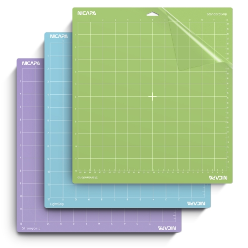 Nicapa Cutting Mat for Cricut Explore/Air/Air 2/Maker[12x12 inch,3pack-Standardgrip/Lightgrip/Stronggrip]