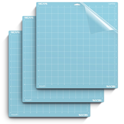 Nicapa Cutting Mat for Cricut Explore One/Air/Air 2/Maker [Lightgrip,12x12 inch,3pack]
