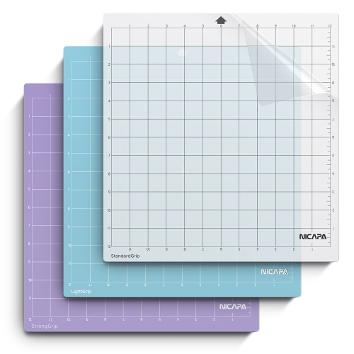 Nicapa Replacement Cutting Mat for Silhouette(12x12 inch 3pack-Standardgrip、Lightgrip、Stronggrip)
