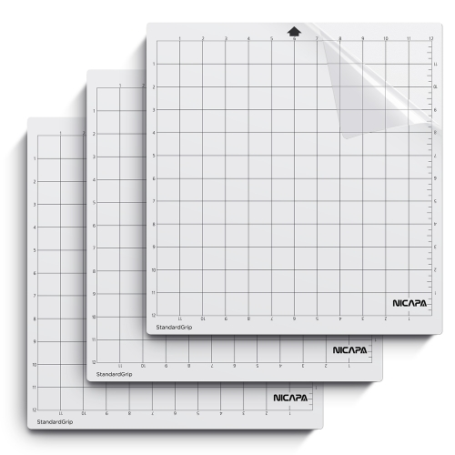 Nicapa Cutting Mat for Silhouette Cameo 3/2/1 [Standardgrip,12x12 inch,3pack]