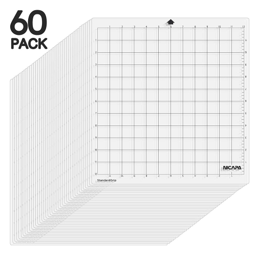 Nicapa StandardGrip Cutting Mat for Silhouette Cameo 3/2/1 (12x12 inch,60 Mats)
