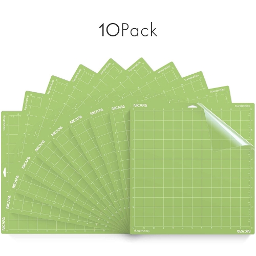 Nicapa StandardGrip Cutting Mat for Cricut Explore Air 2 Maker (12x12 inch,10 mats)