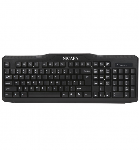 Nicapa Wired Keyboard and Wireless Mouse Computer peripheral devices Black color